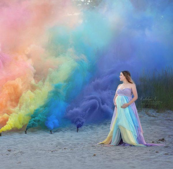chiffon rainbow maternity dress, maternity dresses for photoshoot, maternity dresses for photography, baby shower dresses, maternity gown, rainbow maternity gown, butterfly chiffon panels