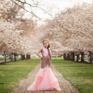 girls formal gown, flower girl, junior bridesmaid, birthday, milestone, mommy and me portrait