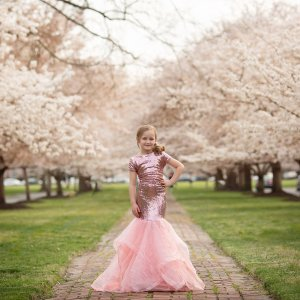 girls sequin gown, girls formal gown, flower girl, junior bridesmaid, birthday, milestone, mommy and me portrait