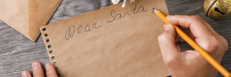 Letter to Santa Claus. Christmas decorations and a sheet of pape