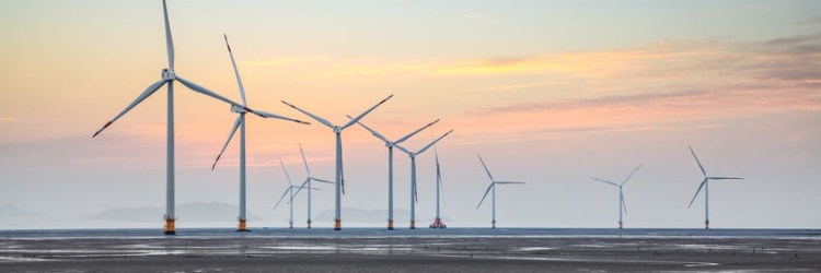 wind power farm on the coastal mud flat in sunrise
