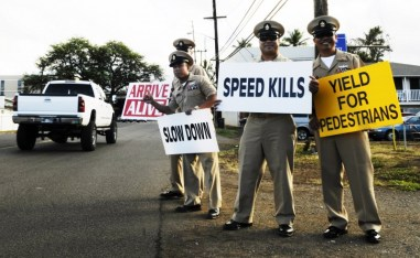 chiefs hold safety signs speed kills safe driving
