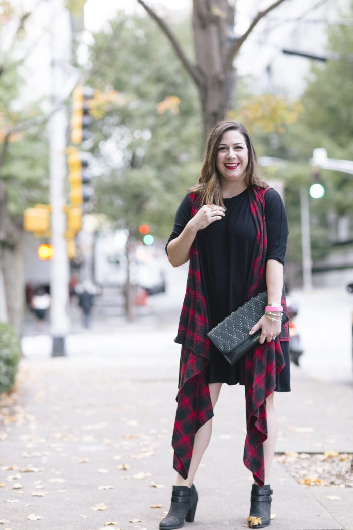 A Plaid Vest & a Studded Clutch