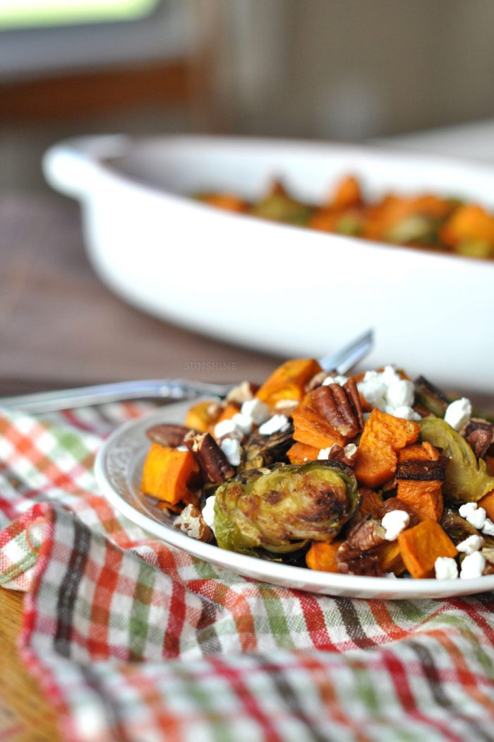 Holiday Side Dish: Roasted Sweet Potatoes + Brussels Sprouts