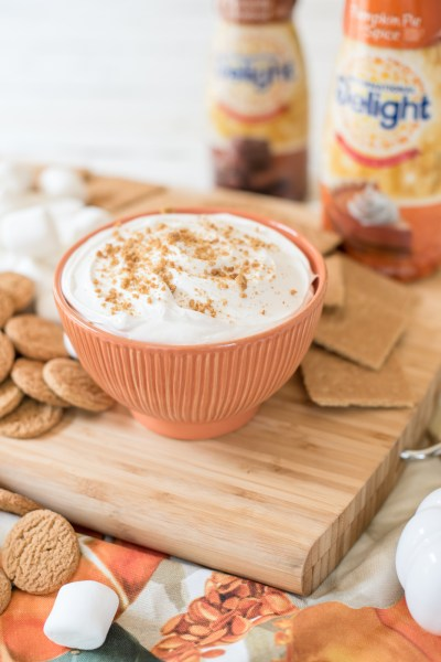 | Pumpkin Pie Cheesecake Dip recipe featured by top US food blogger, Miss Molly Moon