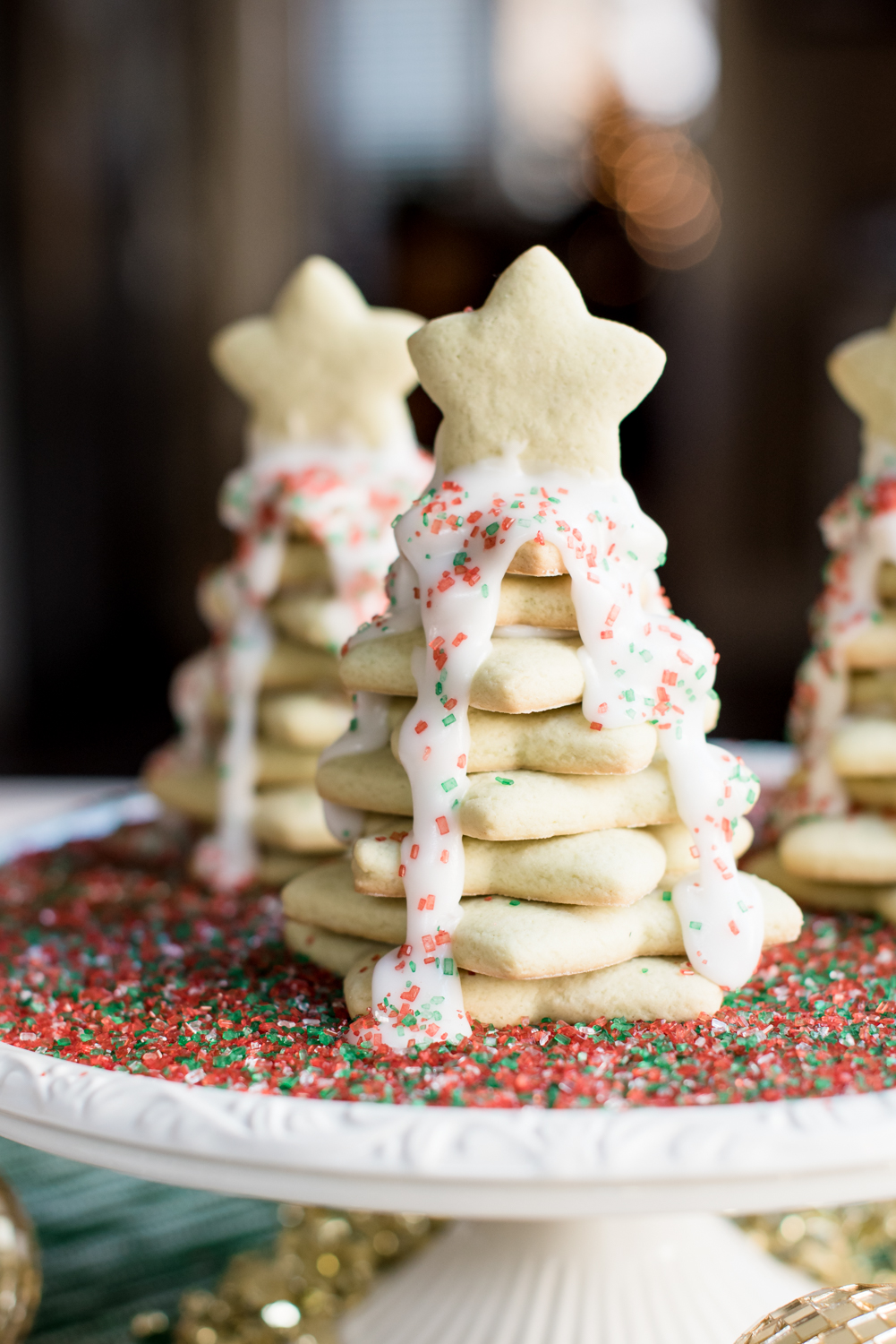 Mint Sugar Cookie Christmas Trees via @missmollymoon - Mint Christmas Tree Cookies featured by top Atlanta foodie blogger, Miss Molly Moon