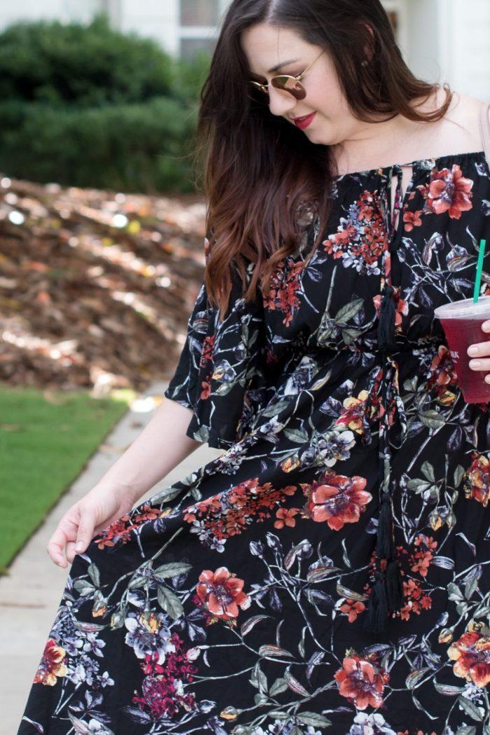 A Flirty Floral Bardot Dress