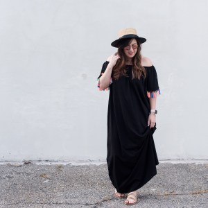 Try the Trend: Tassels // Off-the-Shoulder ASOS Dress, Simple Sandals, and a Boater Hat via @missmollymoon