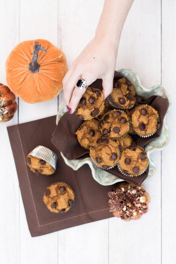 Three-Ingredient Dark Chocolate Pumpkin Spice Muffins