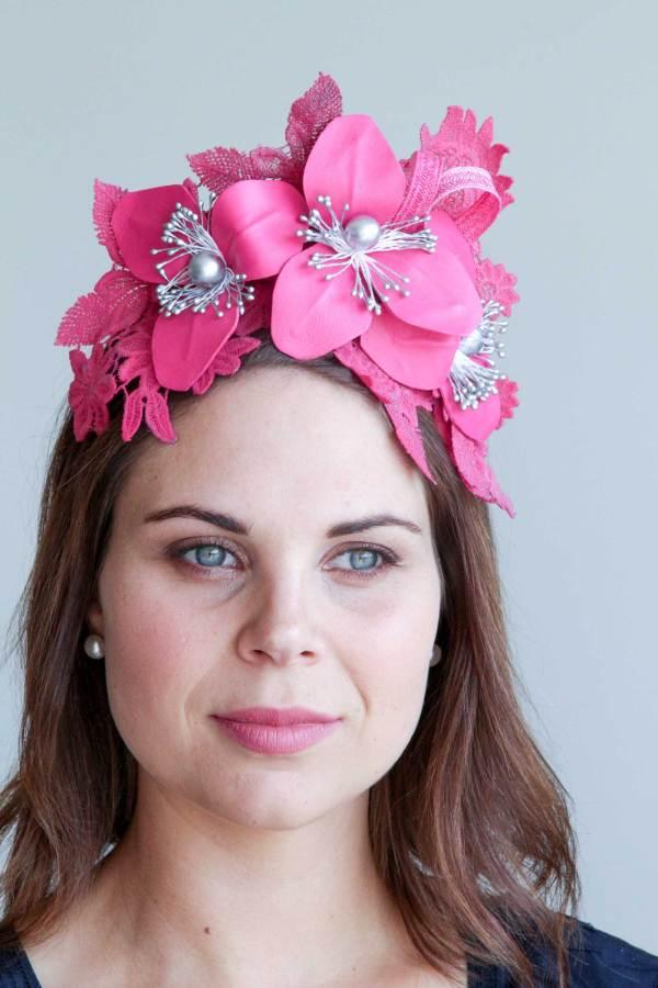 Fushia Leather Floral Lace Headband