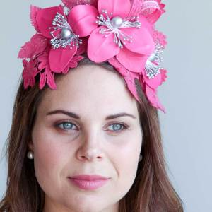 Fushia Leather Floral Lace Headband