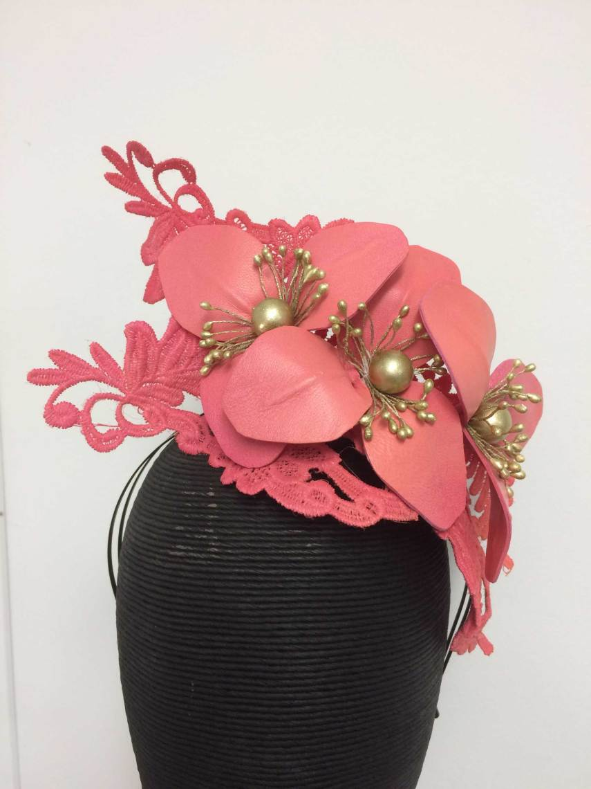 Fushia Leather Floral/Lace Headband