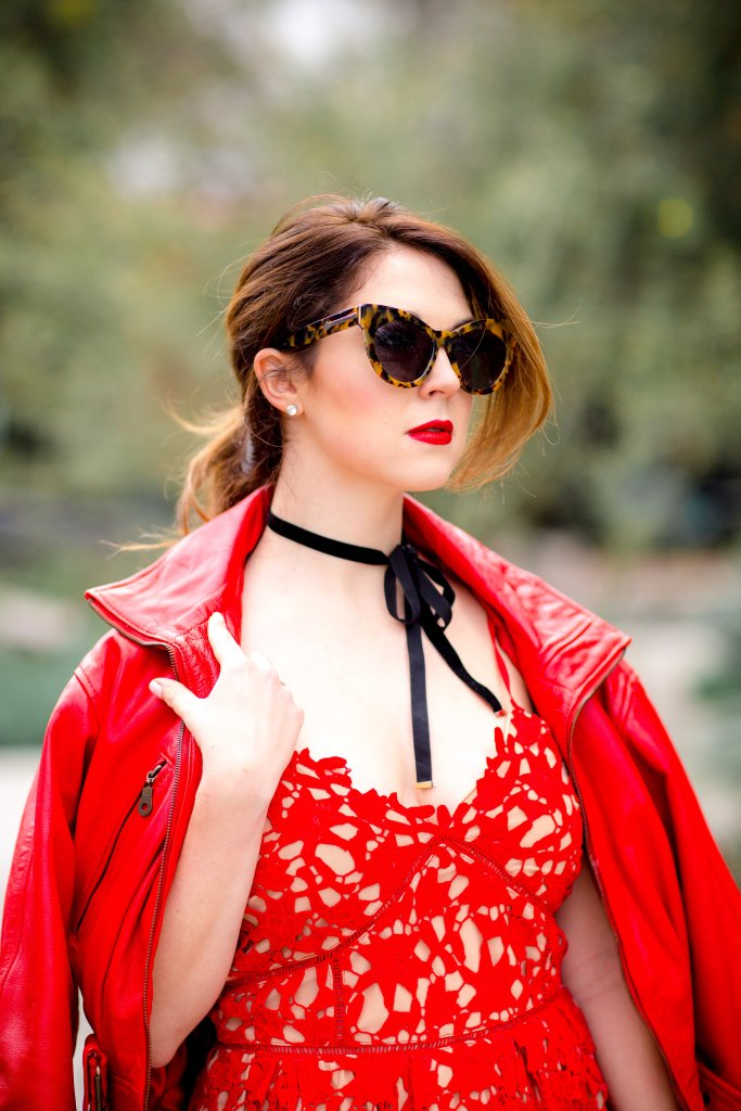 An all-red monochromatic look