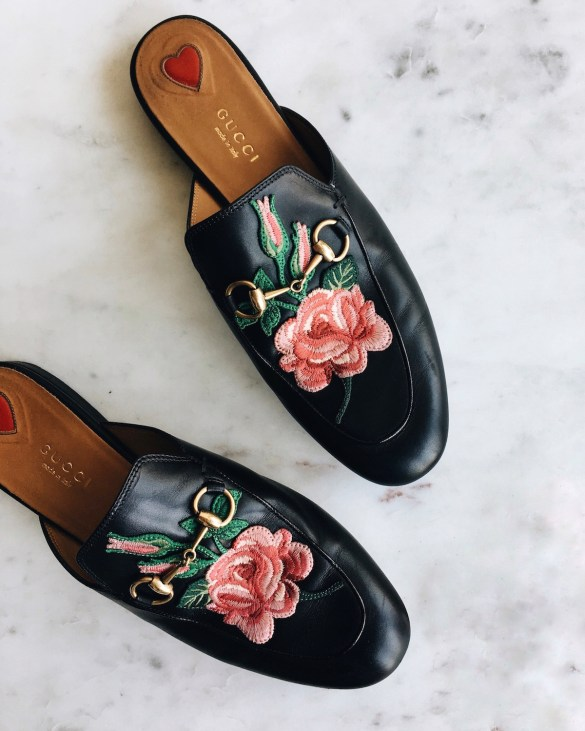 gucci floral slip on mules