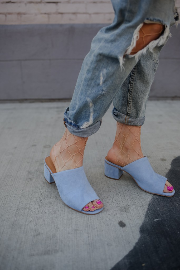 Fishnets with Distressed Denim