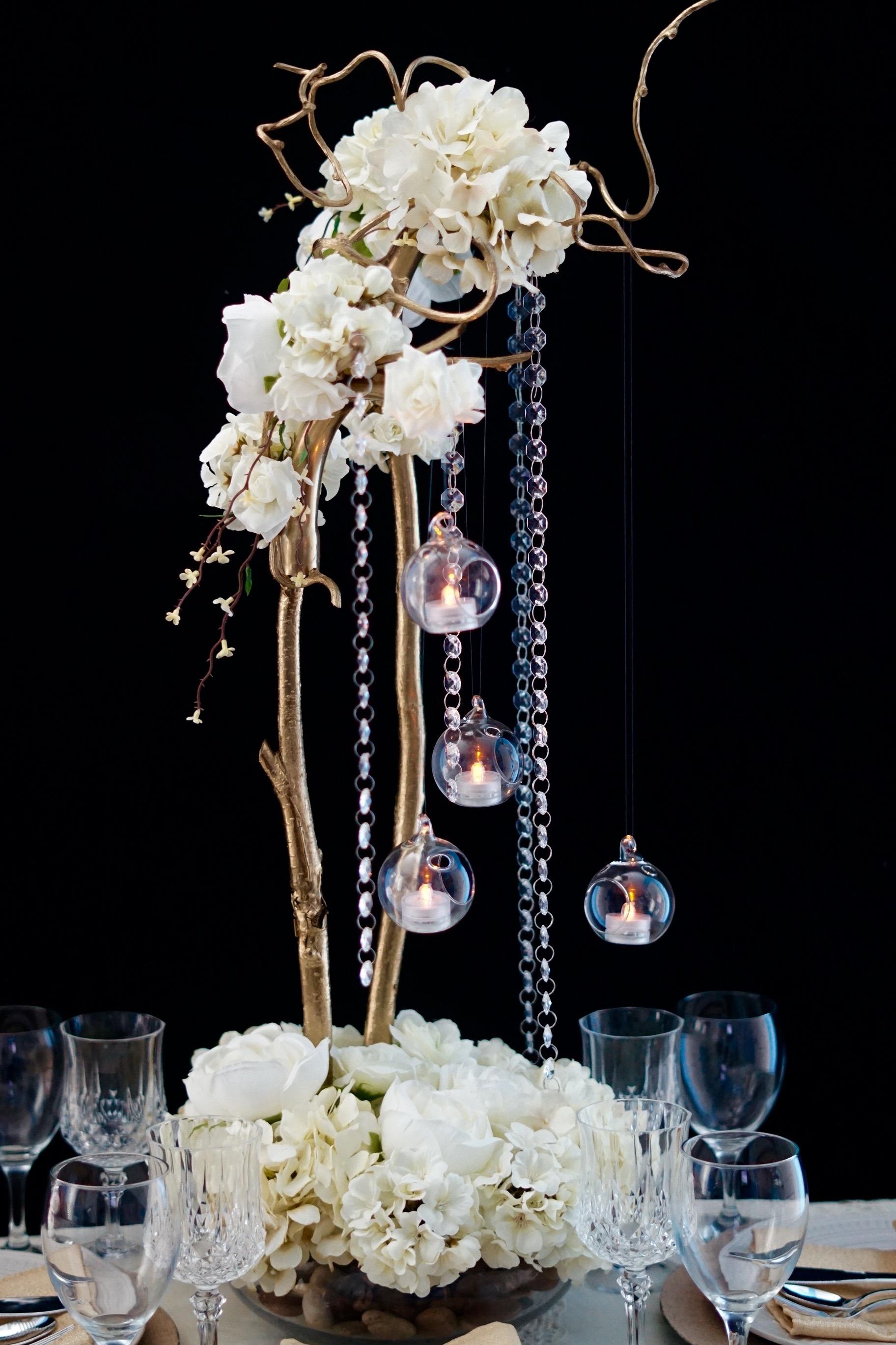 DIY Secret Garden Tall Wedding Centerpiece
