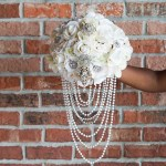 Diy Elegant Brooch And Pearl Cascading Bridal Bouquet
