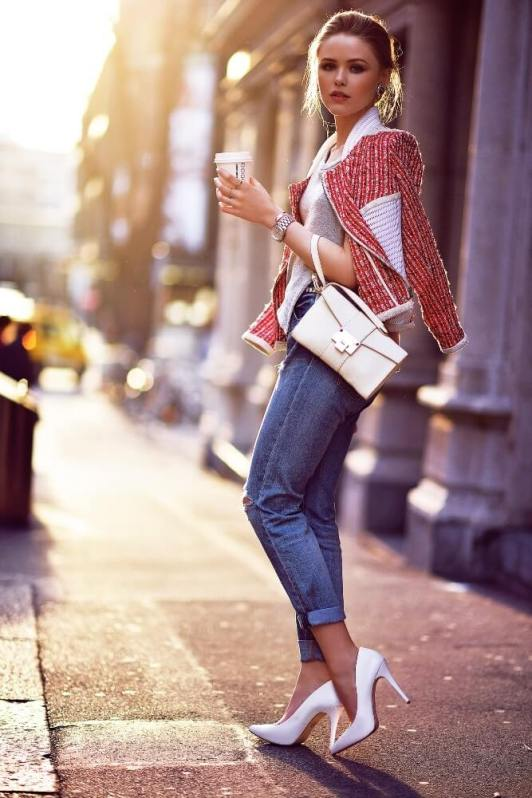 1. boyfriend jeans with chic top - 9 Chic Night Out Outfits Ideas