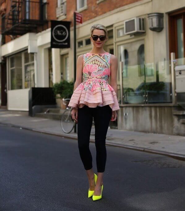 2. peplum top with leggings and neon yellow pumps - 7 Chic Outfit Ideas: What to Wear with Leggings
