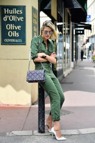3. military jumpsuit with white classic pumps - 9 Chic Night Out Outfits Ideas