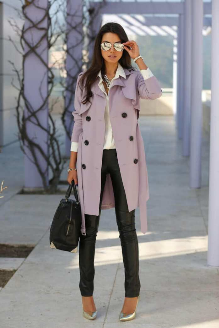 5. button down shirt with trench coat and leggings - 7 Chic Outfit Ideas: What to Wear with Leggings