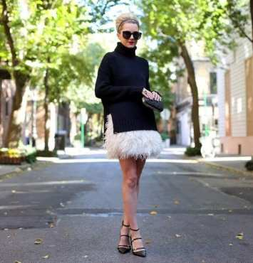 5. knitted sweater with fur skirt 288x300 - 9 Chic Night Out Outfits Ideas