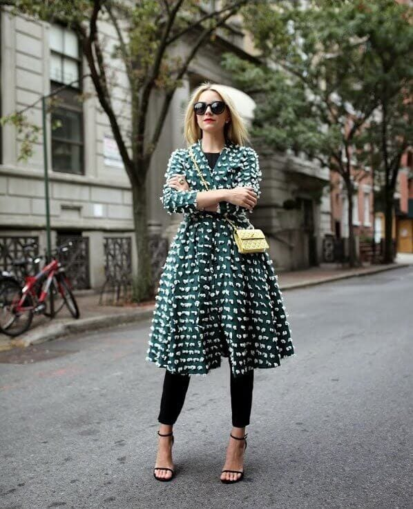 6. forest green dress with leggings - 7 Chic Outfit Ideas: What to Wear with Leggings