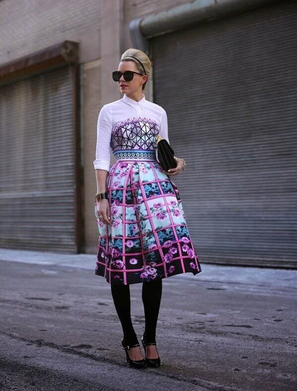 6. geometric print dress with leggings - 7 Chic Outfit Ideas: What to Wear with Leggings
