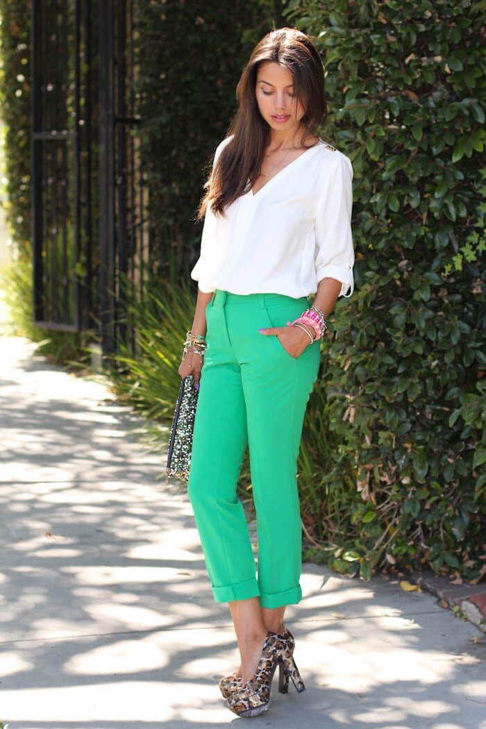 a girl with Bright green pants