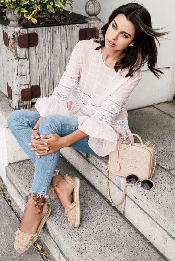 Lace Blouse with Denim Trousers