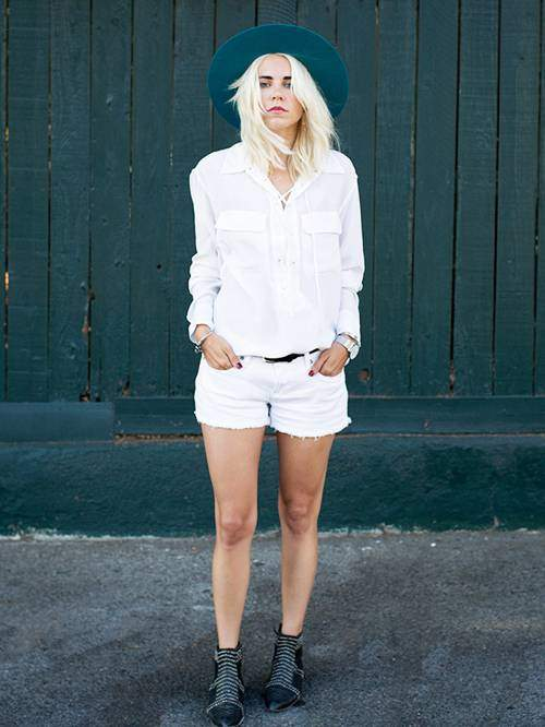 White Blouse with White Shorts