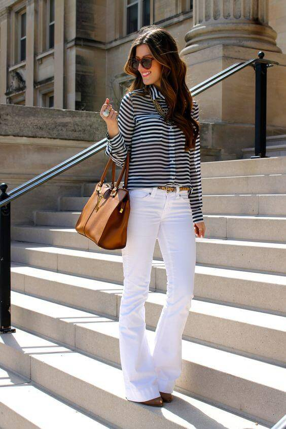 Black and White Striped Shirt with Flared Trousers