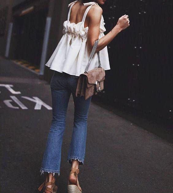 Cute Blouse with Strappy Shoulders