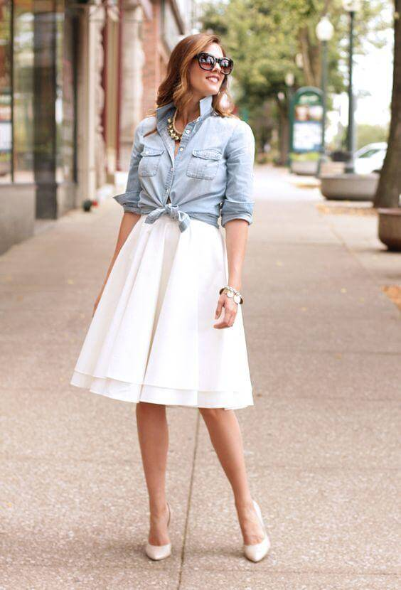 Chambray Blouse with White Skirt