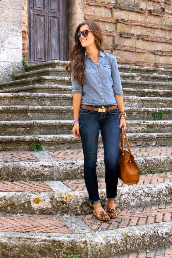Chambray Blouse with Skinny Blue Jeans