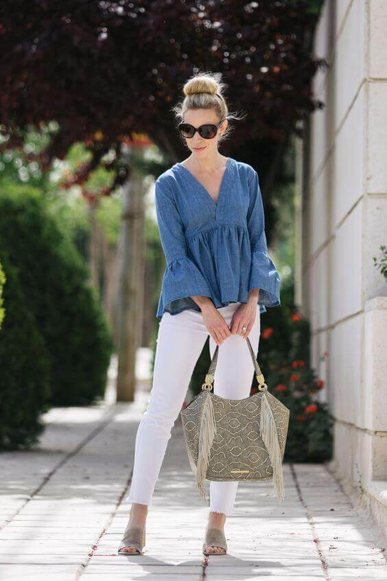 Distressed White Jeans with Denim Blouse