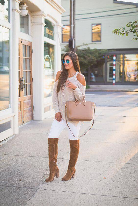 White Jeans with Knee-Length Boots