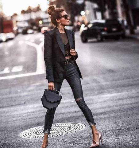 Bralette with Leather Blazer
