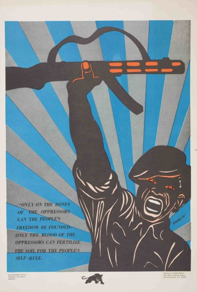 Emory Douglas, untitled (On the Bones of the Oppressors), 1969. Poster, 20 x 13.5 in. Collection of the Oakland Museum of California. All Of Us Or None Archive. Gift of the Rossman Family.