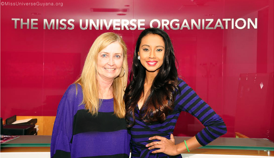 Jyoti Hardat, National Director of Miss Universe Guyana with Tricia Langa, Sr. Director of Global Franchise Operations of the Miss Universe Organization.