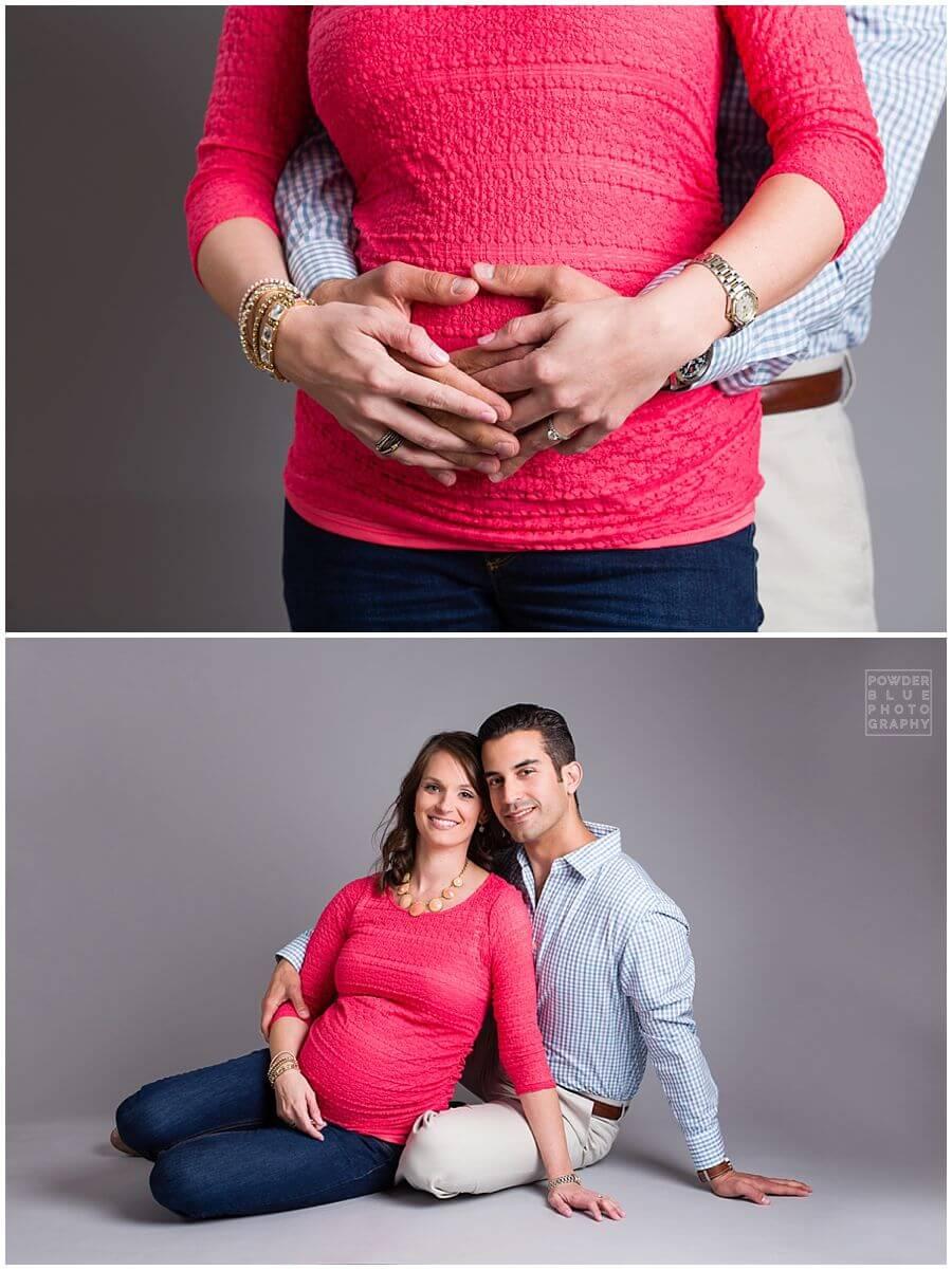 maternity portrait in studio grey seamless backdrop