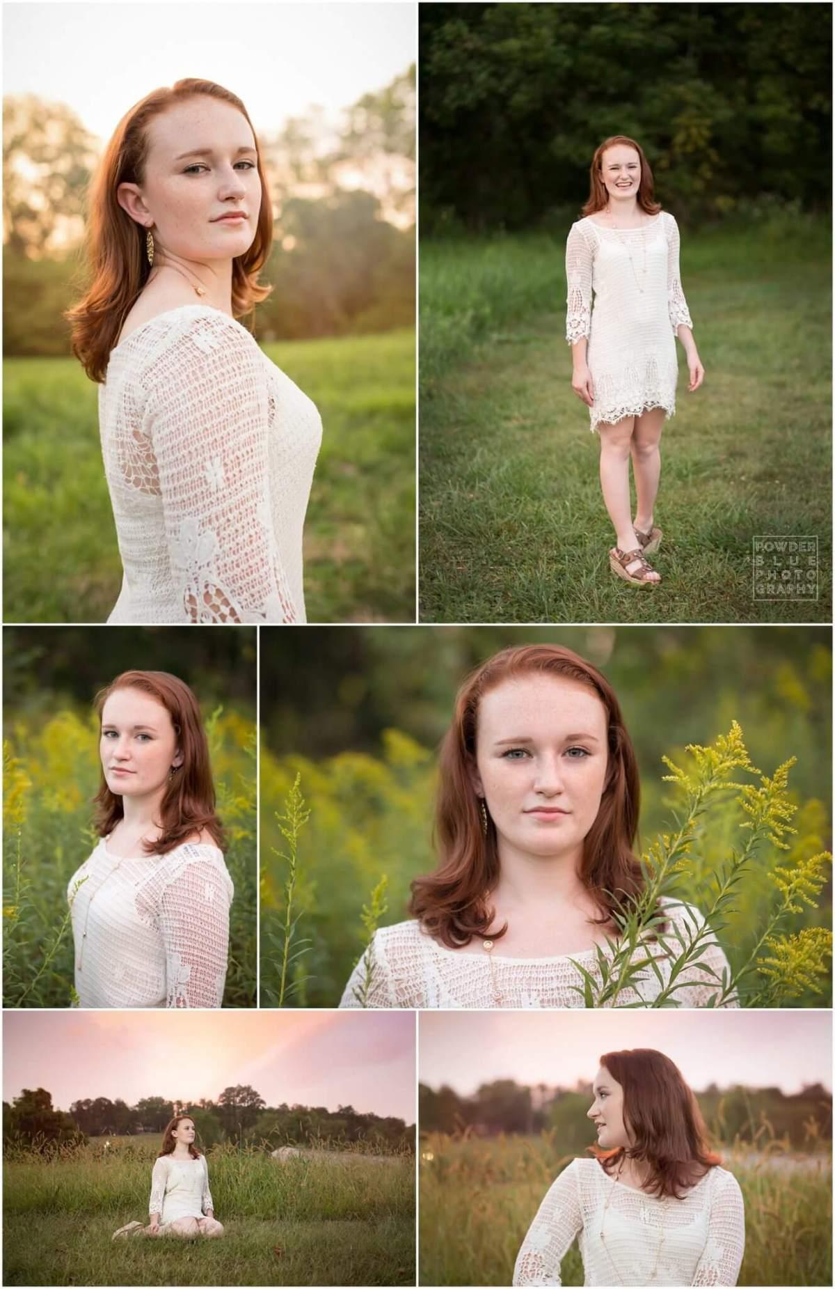 pittsburgh senior portrait in field at sunset girl wearing white crochet dress