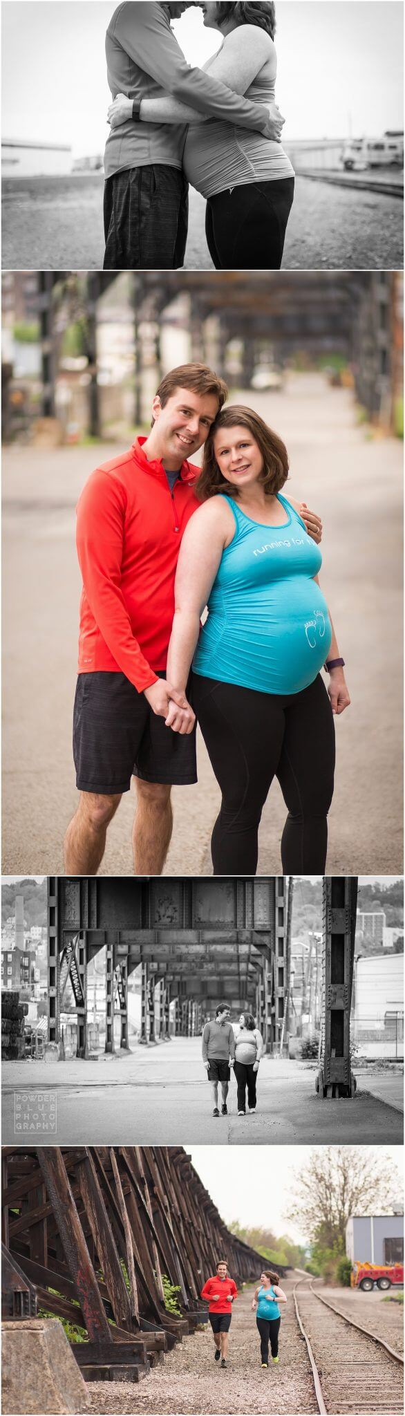 pittsburgh maternity photography session. fitness themed maternity photography portrait session overlooking pittsburgh skyline.