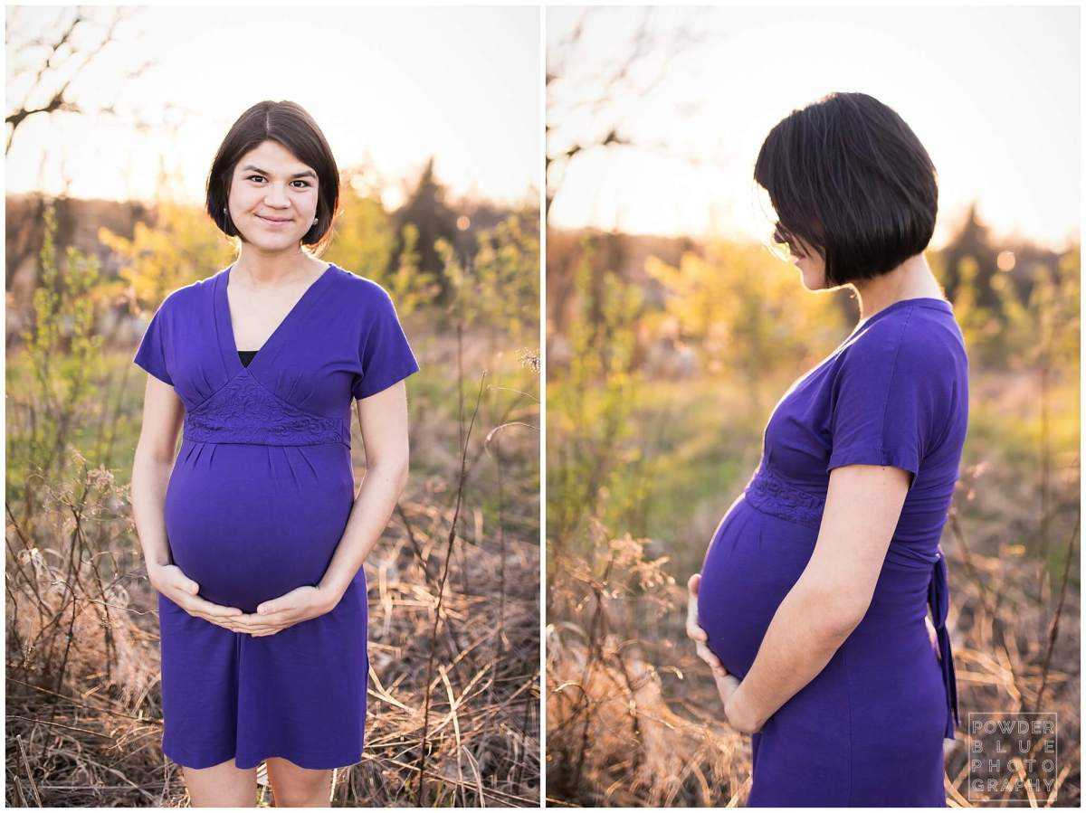 9 months pregnant maternity portrait purple dress standing in a field.