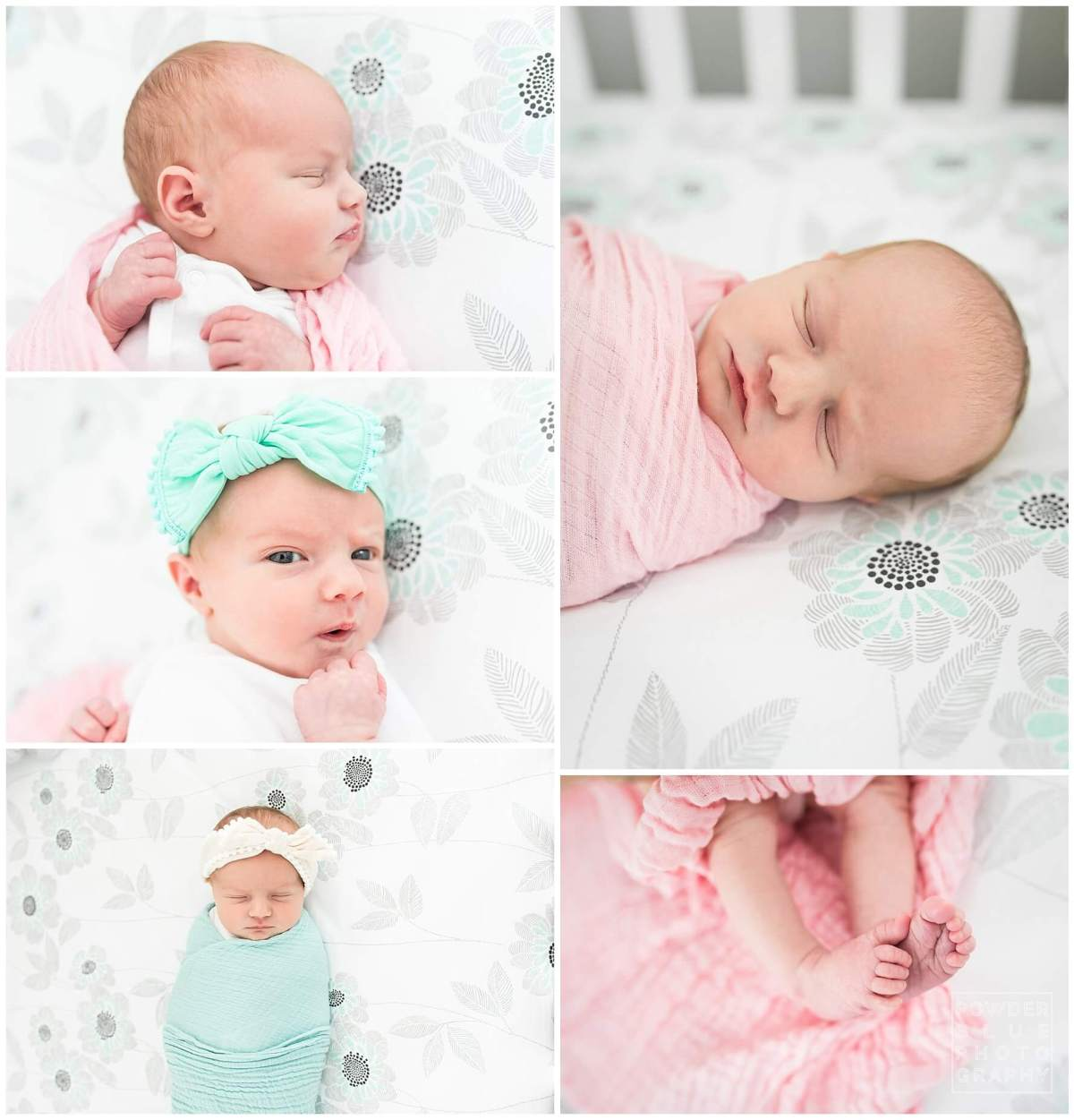 pittsburgh newborn photographer. simple, natural newborn portrait on location. baby girl. in crib. printed sheets. newborn feet. no props.