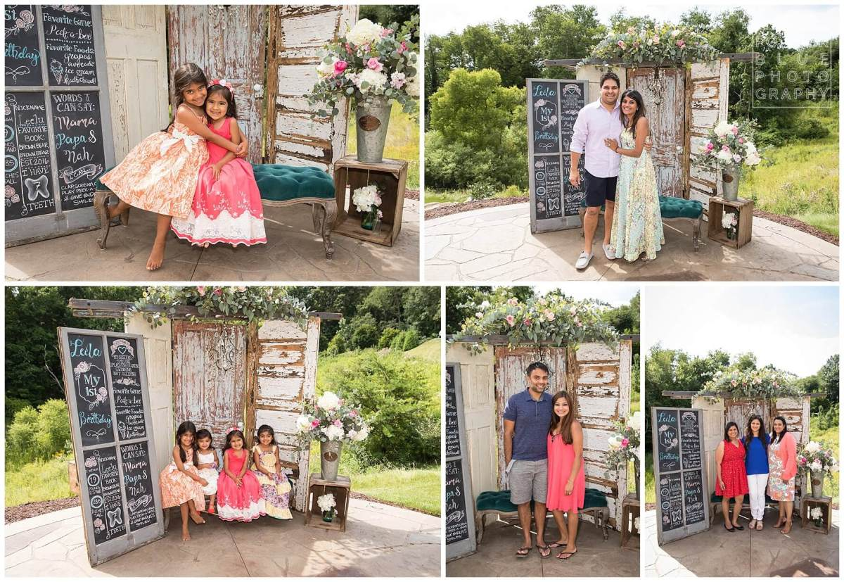 shabby chic one year old birthday party decor. photo booth PhotoBooth backdrop made of barn doors.