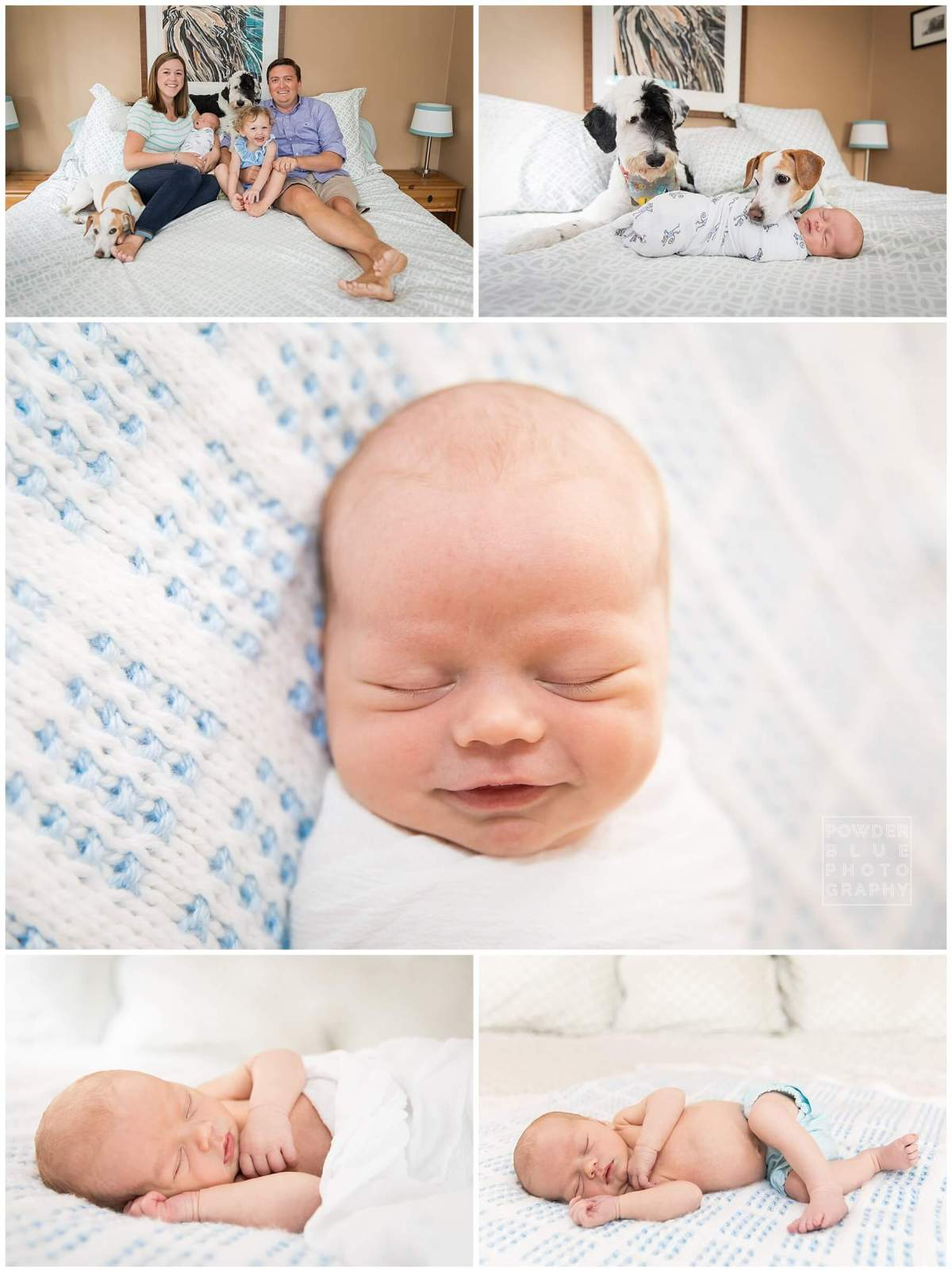 newborn photography session in home lifestyle pittsburgh baby sleeping on a bed