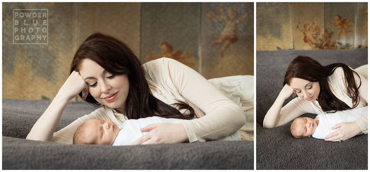 newborn baby girl lying on bed lifestyle photography pittsburgh
