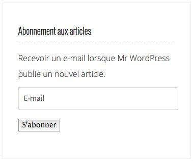 Widget d'abonnement en sidebar