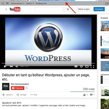 Copier l'URL de la vidéo YouTube à insérer.
